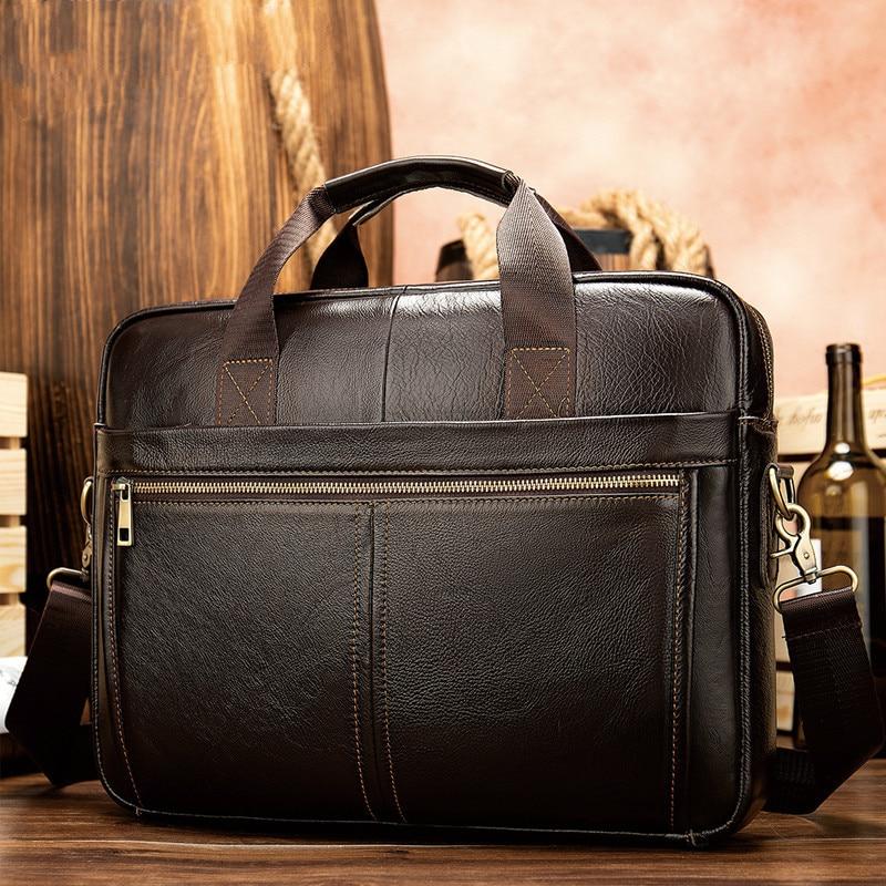 Briefcase Messenger Computer Bag Men's Genuine Leather 14'' Laptop Bag Men's Briefcases Office Business Tote For Document 8572