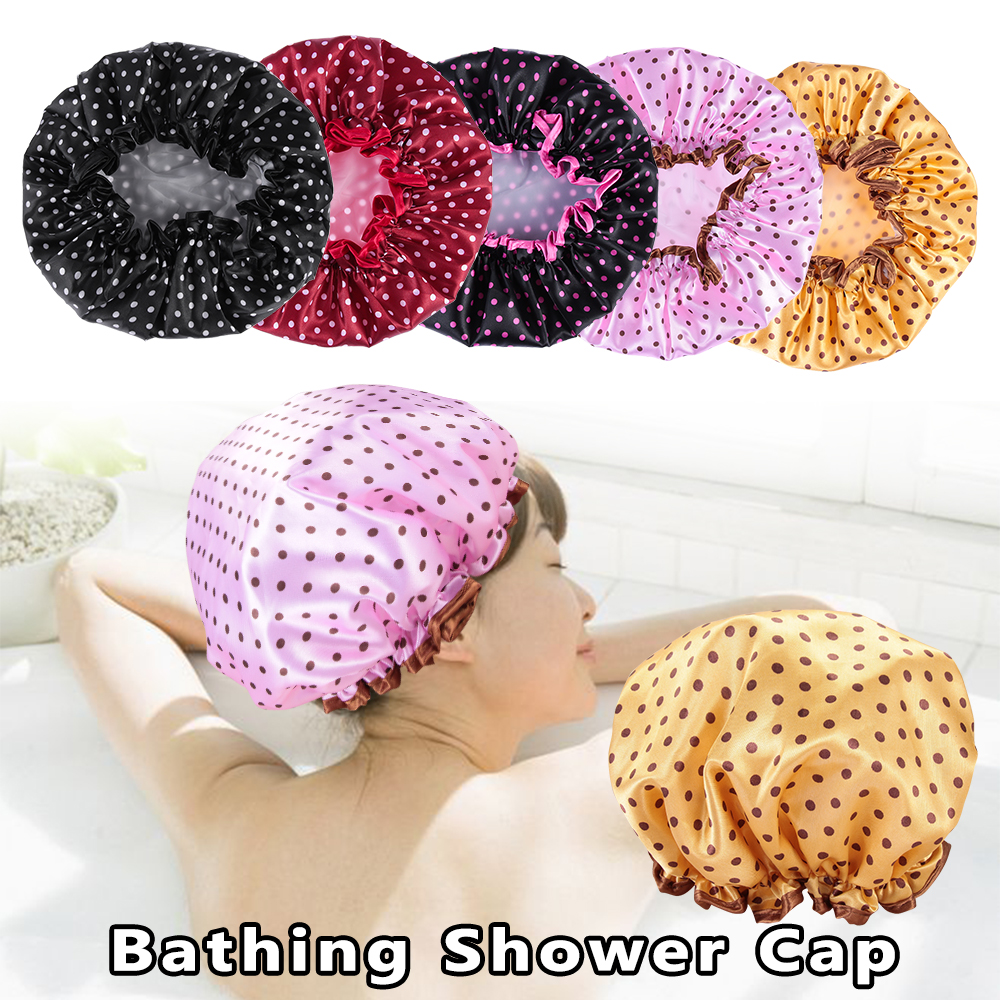 Fashion Bathing Shower Cap Polka Dot Spotty Double Layer Waterproof Hats Vintage Style Hair Protect Hair Cover Bathroom Supplies