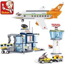 678 шт город международный аэропорт самолет модель авиационный техника строительные блоки наборы фигурки Кирпичи игрушки для детей