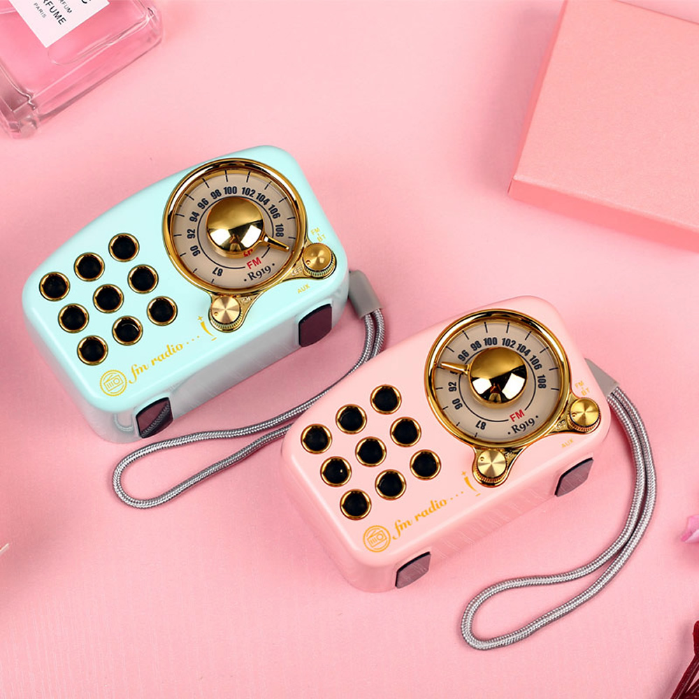 FM Speakers Radio Music Box Wood Portable Pink Crafts Solid For Home Subwoofer Outdoor Wooden Mini Indoor Old Time Player