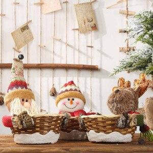 Image 3 - החג שמח סוכריות אחסון סל קישוט סנטה קלאוס אחסון סל מוצרים עבור חג המולד סוכריות מיכל מכירה לוהטת # R15