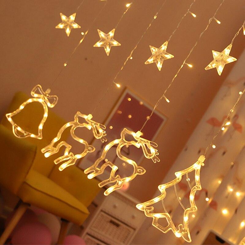 Fairy String Light Moon Star 3.0M Landscape Lamp Christmas Tree Festival Elk Curtain Lamp LED Lamp String 110V US Plug