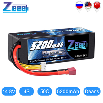 Zeee 5200mAh 14.8V 50C Lipo Battery for RC Car 4S RC Lipo Battery Hardcase with Deans Plug For RC Helicopter Car Boat Truck 1pcs lipo battery 11 1v 14 8v 1600mah 70c lipo battery 3s 4s for rc helicopter rc car boat quadcopter remote control toys
