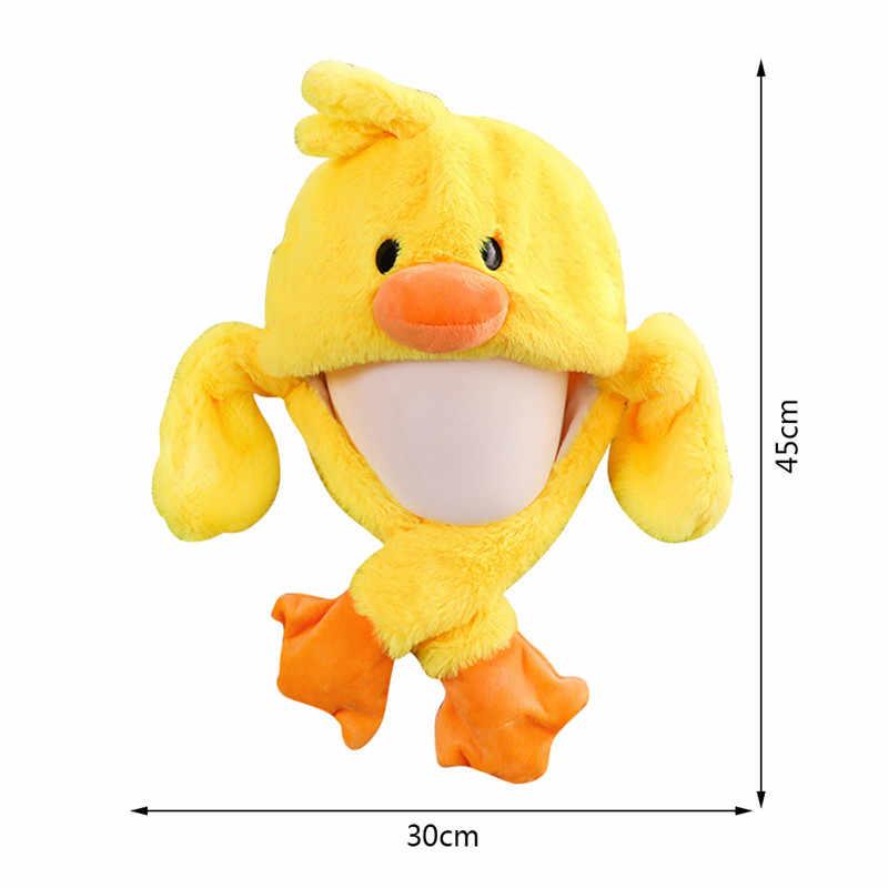 Kinder Tier Spielzeug Hut Kaninchen Ohren Moving Hut Airbag Kappe Ente Hut Spielzeug Kappe Plüsch Stirnband