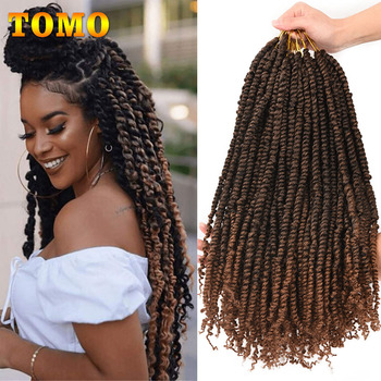 TOMO Passion Twist Crochet Hair 18 Inch Pre-looped Synthetic Crochet Braids Hair Extensions Ombre Braiding Hair Black Brown Red 1