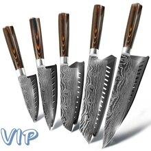 Кухонный нож шеф-повара японский 7CR17 440C высокоуглеродистой нержавеющей стали Шлифовальный лазерный узор