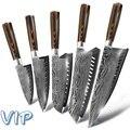 Кухонный нож шеф-повара ножи японский 7CR17 440C из высокоуглеродистой нержавеющей стали Шлифовальный лазерный узор
