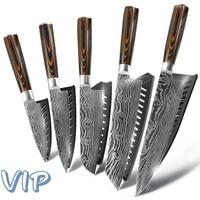 Kitchen knife Chef Knives Japanese 7CR17 440C High Carbon Stainless Steel Sanding Laser Pattern|Knife Sets| |  -
