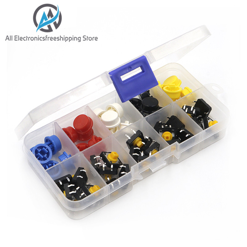 25PCS Tactile Push Button Switch Momentary 12*12*7.3MM Micro Switch Button + 25PCS Tact Cap(5 Colors)