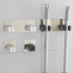 Hook-Racks Hanger Broom-Holder Adhesive-Storage Wall-Mounted Stainless-Steel Kitchen