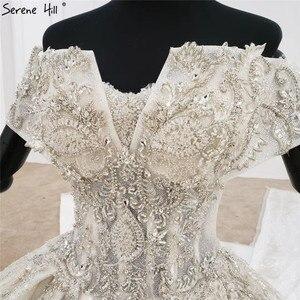 Image 5 - Weiß Schatz Kurzen Ärmeln Luxus Hochzeit Kleider 2020 Perlen Suquins Sexy Dubai Brautkleider HX0070 Nach Maß