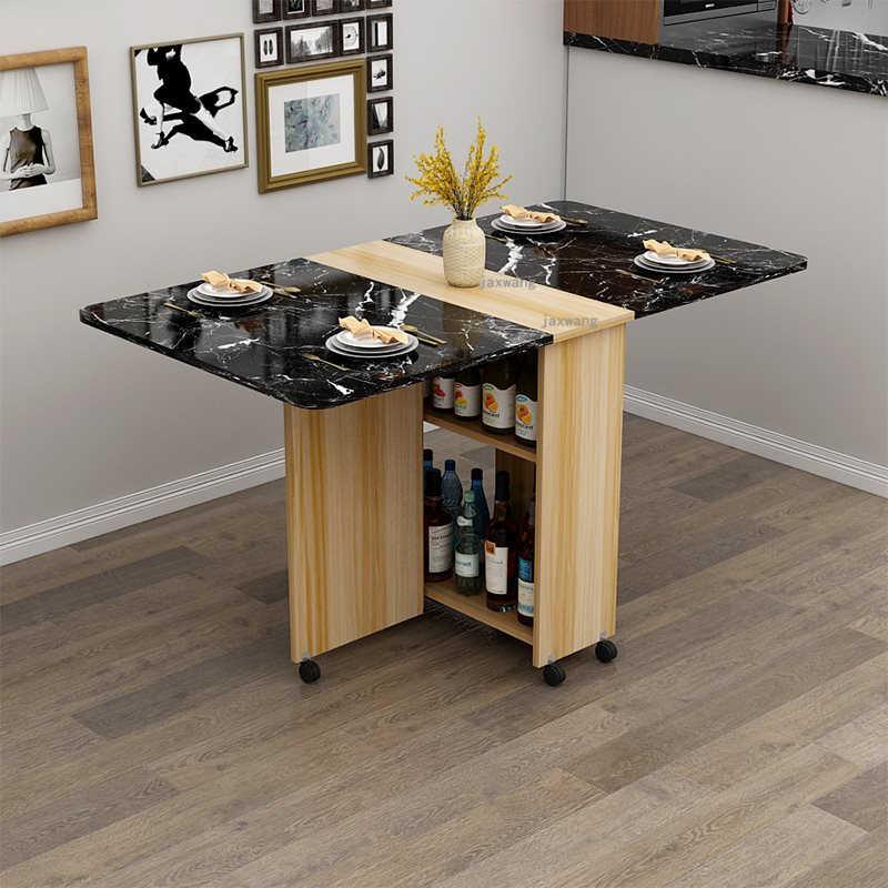 Moderno Tavolo Pieghevole In Legno Mobili Da Cucina Armadio Di Stoccaggio Creativo Tavolo Da Pranzo Di Casa Mobile Puleggia Tavoli Da Pranzo Nordic Dining Tables Aliexpress