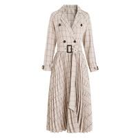 Autumn and winter new women's dress fashion elegant commuter waist pleated Plaid Dress with belt female long Dresses