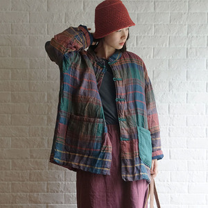 Image 1 - Новинка 2019, зимнее Модное теплое хлопковое плотное пальто в клетку с пряжкой, новое хлопковое льняное женское ретро пальто с длинным рукавом