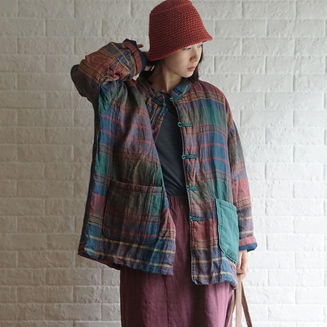 Новинка 2019, зимнее Модное теплое хлопковое плотное пальто в клетку с пряжкой, новое хлопковое льняное женское ретро пальто с длинным рукавом