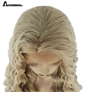 Image 5 - Anogol loira peruca dianteira do laço sintético afro longa parte livre peruca da onda do corpo para as mulheres peruca de fibra resistente ao calor
