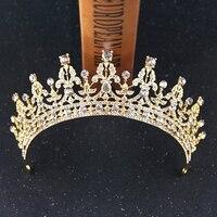 Роскошные золотые стразы для свадебной короны ручной работы тиара свадебные головные уборы кристалл свадебная диадема Королевская корона ...