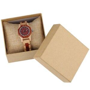 Image 2 - Elegant Rhinestones Octagon Shape Watch Wood Watch Women Clock Full Wooden Chic Bangle Dress Watch Top Luxury Relogio Feminino