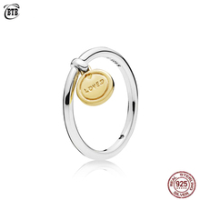 2019 Real 925 Sterling Silver Shine Gold Medallion Love Original Europe Ring For Women Fine Jewelry Lettering LOVED YOU Rings цена 2017