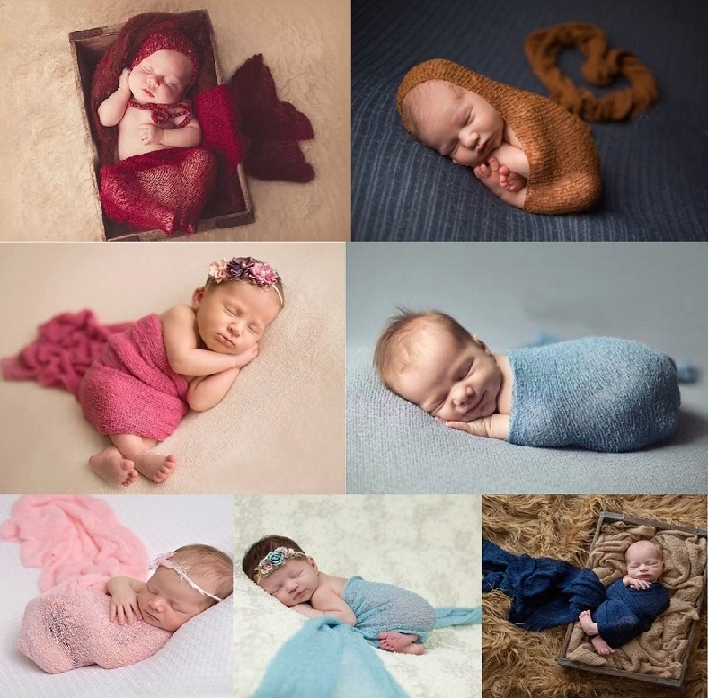 Wrap-Blanket Photograph-Props Cotton-Wrap Stretchable Newborn Baby Infant