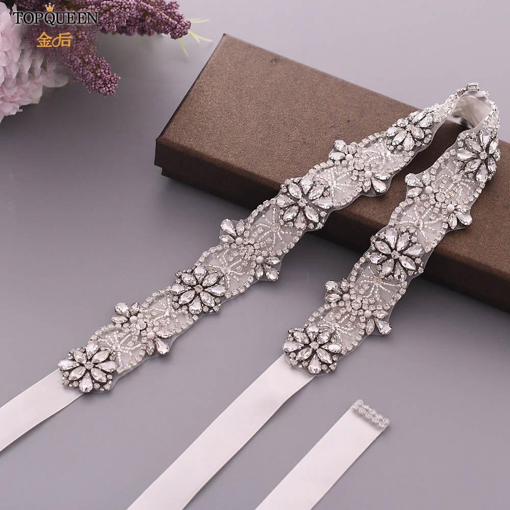 TOPQUEEN S441 Wedding Belt Rhinestone Belt Bridal Belt Sparkle Belt For Dresses Black Beaded Belt Formal Pearl Applique