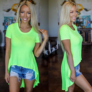 Women Neon Solid Color T-shirt Summer Fashion Casual Loose Short Sleeves Irregular Hem Tops Fluorescent Green Hi-Low Tee boys solid tee with rolled hem jeans