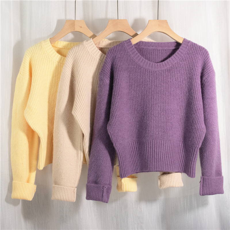 Colorfaith New 2021 Spring Women's Sweater Pullovers Warm Minimalist Korean Short Elegant Solid Sweet Lady Jumpers SW1184