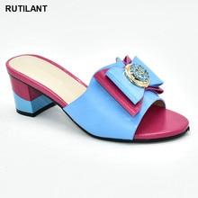 جديد فوشيا اللون أحذية الزفاف للنساء رائجة البيع النمط الإيطالي أحذية خفيفة المرأة الأفريقية النعال صنادل سيدات بكعب