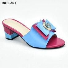 Nowe buty ślubne w kolorze fuksji dla kobiet gorący sprzedawanie włoski styl pantofle afrykańskie kobiety kapcie sandały damskie z obcasem