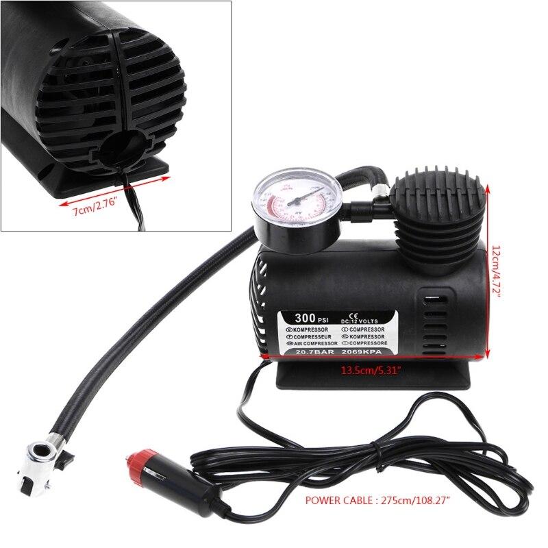 300 psi 12v carro portátil mini compressor de ar elétrico pneu inflator bomba com calibre