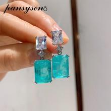 Pansysen高級925スターリングシルバーparaibaトルマリンエメラルド宝石ダイヤモンドドロップピアス女性ファインジュエリー卸売