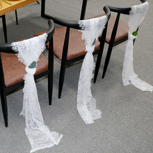 10Pcs White Lace Chair Sashes Bow Wedding Chair Knot Cover Chair Bow Band Belt Ties Banquet Romantic Wedding Decoration 35x300cm