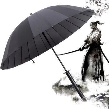 Wielkoformatowy wiatroszczelny miecz samuraja parasol przeciwsłoneczny Ninja-jak prosty długi uchwyt żebra parasol ręczny otwarty tanie i dobre opinie CN (pochodzenie) 55-61 cm promień ZXJXH092 Parasole Metal Pongee Nie-automatyczny parasol Dorosłych Koszulka męska z długim uchwytem parasol