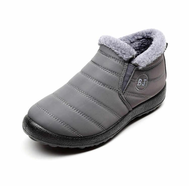 Новинка; модная мужская зимняя обувь; однотонные зимние ботинки; теплые водонепроницаемые лыжные ботинки с плюшевой подкладкой на нескользящей подошве; Размеры 35-46