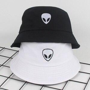 Unisex black white solid Embroidered Alien Foldable Bucket Hat Beach Sun Party Street Headwear Panama Hat Harajuku Fisherman Cap(China)