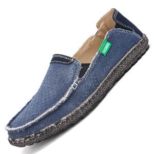 Image 4 - Summer Casual Slip On Breathable Men Canvas Shoes Espadrille Alpargatas Hombre Denim Deck Shoes Mocassin Homme Mens Slip ons