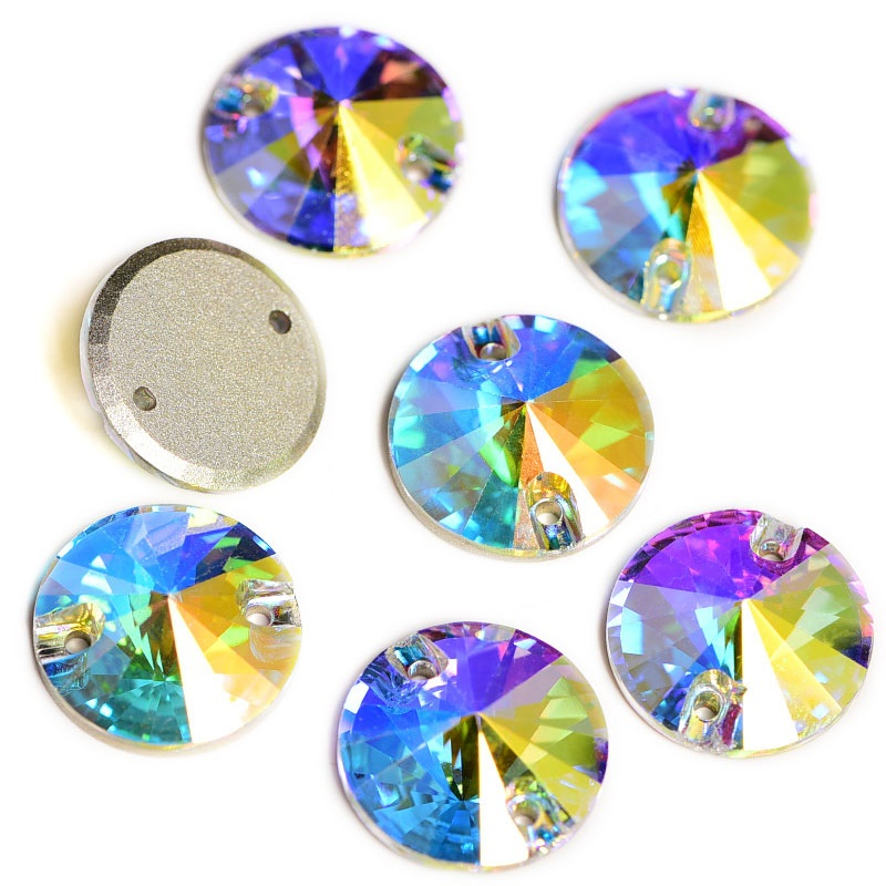 Top Quality AAAAA Sew On Rhinestone Round Rivoli Shape Crystal And AB Glass Flatback Sewing Rhinestones For Wedding Dress F0052