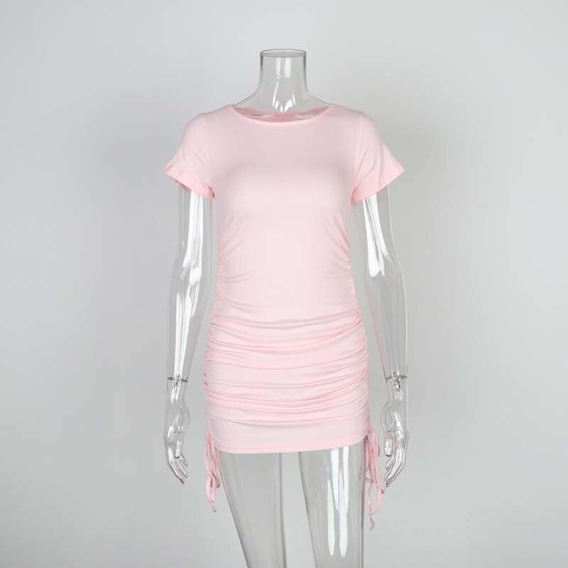 Ladies ribbed drawstring dress bodycon round neck short-sleeve sexy T-shirt dresses WL88 11