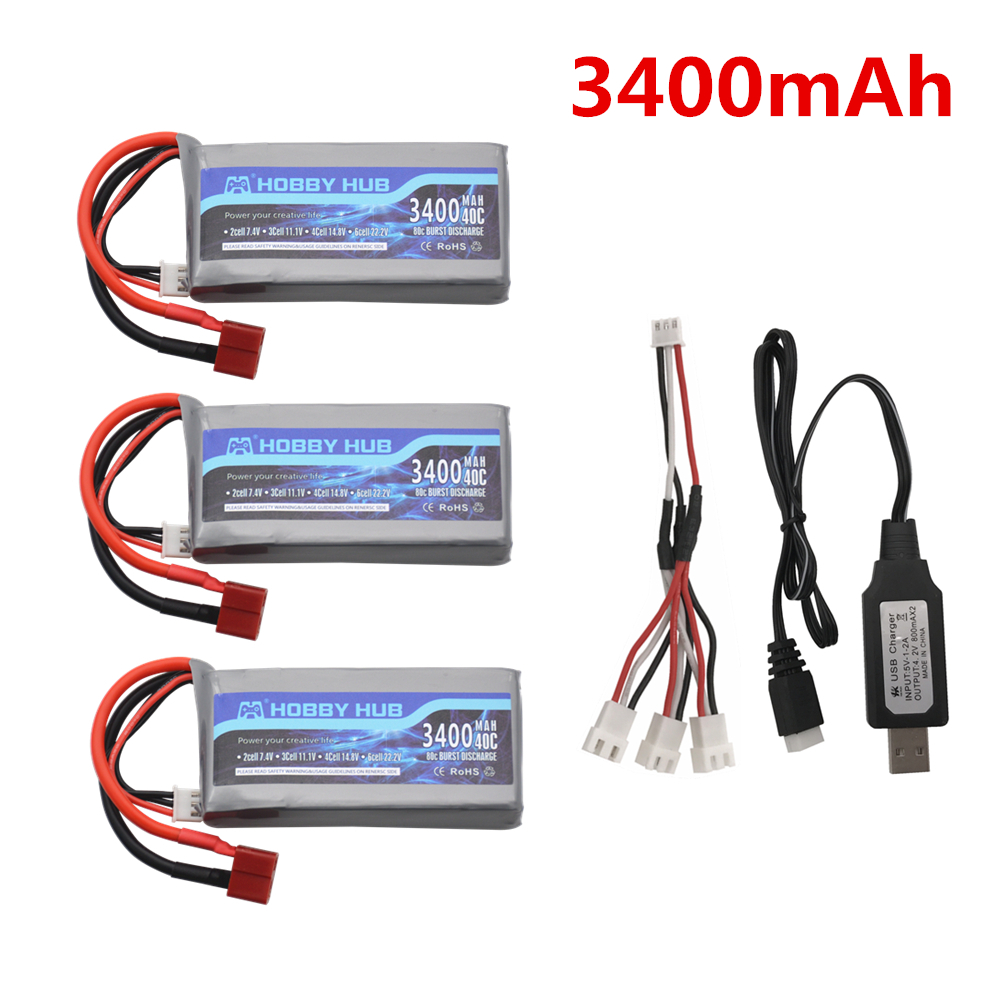 7.4v 3400mah Lipo Battery For Wltoys 12428 12423 RC Four-wheel RC Vehicle Car 1500mAH 7.4v Battery Feiyue 03 Q39 RC Part Charger