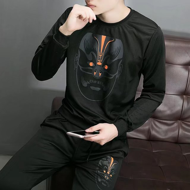 Spring And Autumn Hoodie Thin Coat Teenager Sports Set Trend Korean-style Cool Clothes Men's Wear Casual A Set