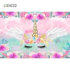Image 4 - Laeacco unicórnio backdrops para festa de aniversário céu rosa flores estrelas arco íris chá de fraldas fotografia fundos para estúdio de fotos