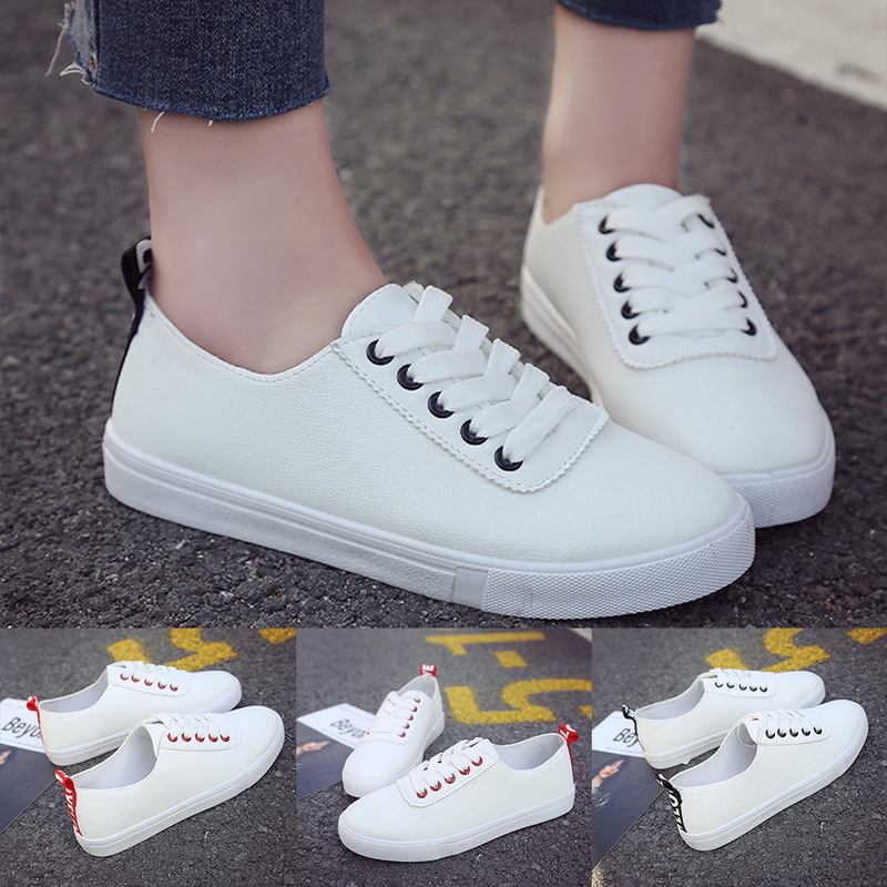 Women 2019 New Sneaker White Shoes Pull Femme Feminino Zapatos De Mujer Lace Up PU Leather Female Vulcanize Shoes Flats Shoes