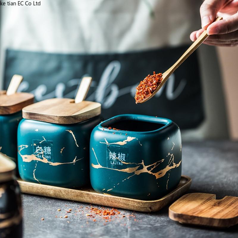 Nordic Matte Marbled Ceramic Seasoning Cans 3 piece set 2