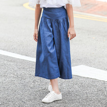 цены на Girls Clothing Spring Summer European Style Baby Girl Denim Pants Fashion Flared Trousers Elastic Waist Jeans Pants for Girls  в интернет-магазинах