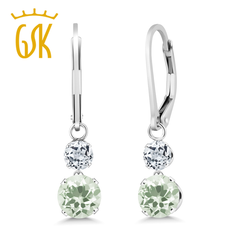 Drop-Earrings Topaz Gemstoneking 925-Sterling-Silver Prasiolite Natural White Green Women title=