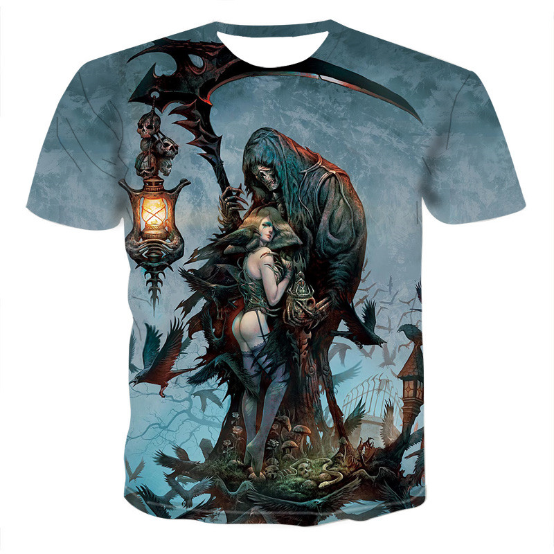 Summer Men T-shirts Casual O-neck Short Sleeve Tee Tops Hip Hop Style Clothes Fashion Streetwear Skull 3D T Shirt Male 1