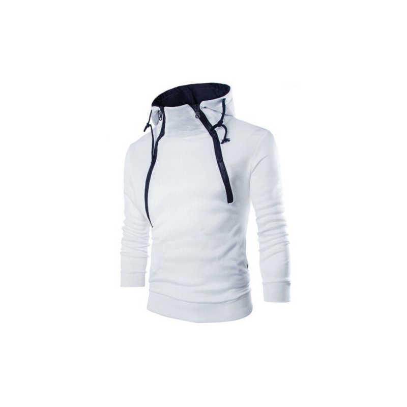 남자의 따뜻한 옆을 터 놓은 부분 더블 지퍼 슬림 스웨터 풀오버 가을 겨울 도착 캐주얼 대비 색 남성 outwear streetwear