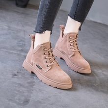New Martin Boots Women Mouth Meat Powder Leather Short Summer Flat Bottom Spring and Autumn Black Locomotive Winter