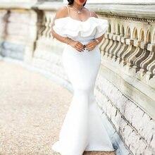 Женское вечернее платье md Белое Облегающее с открытыми плечами