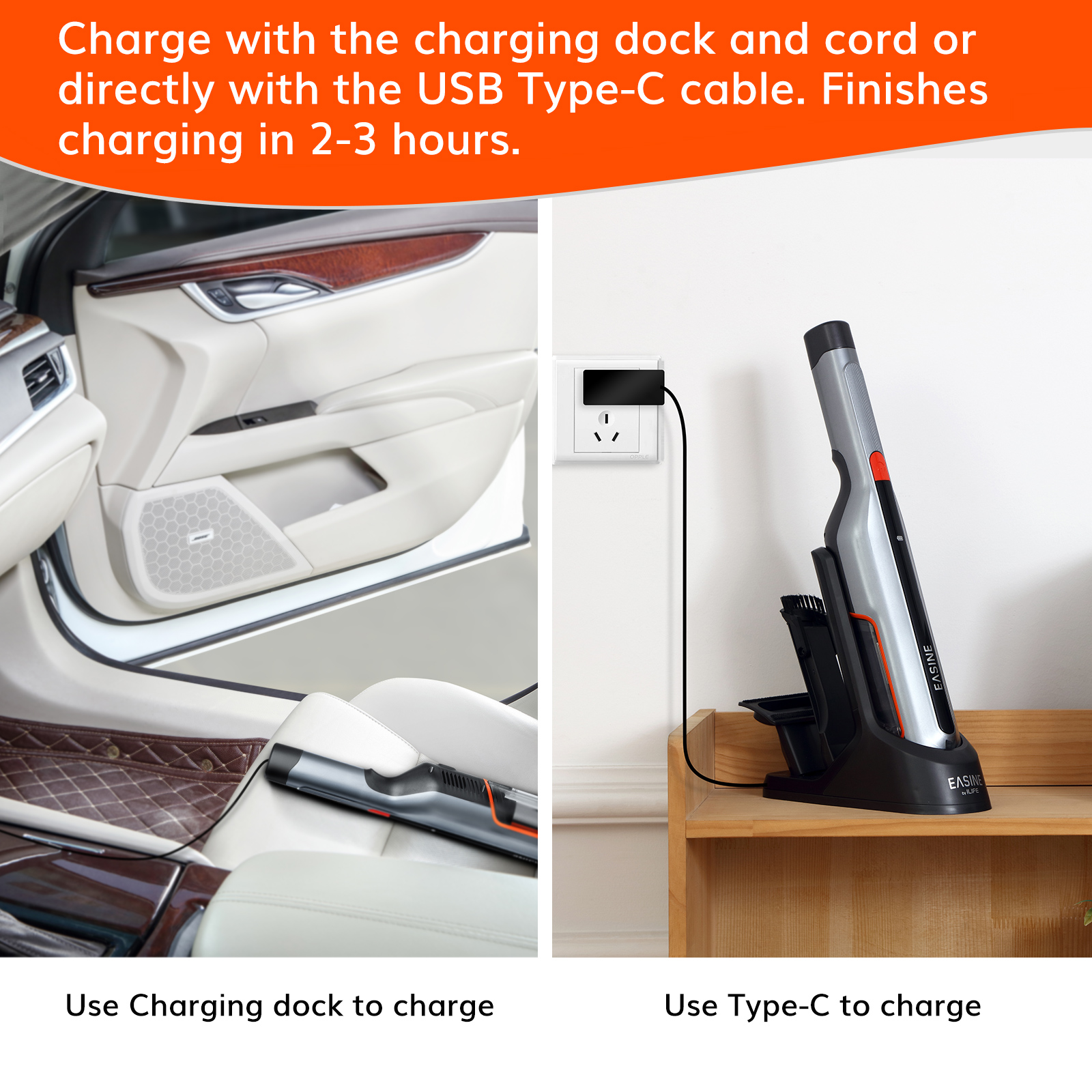 EASINE by ILIFE M50 Handheld Car Vacuum Cleaner – 14,500Pa Powerful Suction,  Type-C & USB Charging, 2 Hours Fast Charge 2